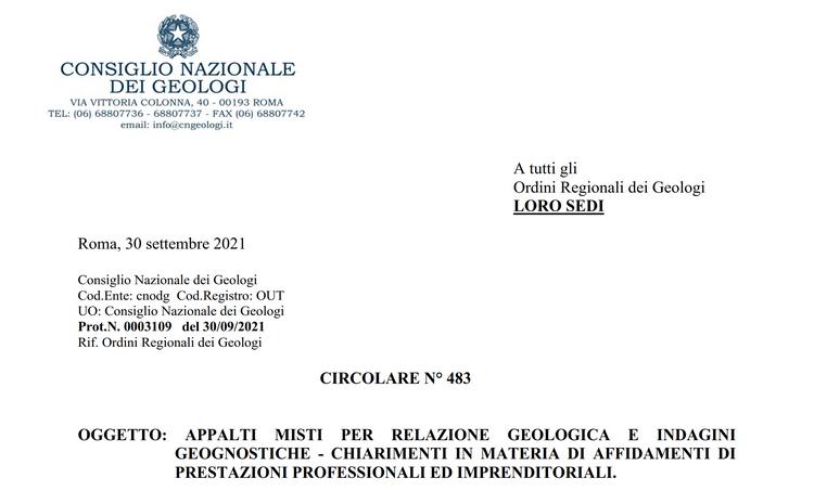 Circolare CNG - Appalti misti per relazione geologica e indagini geognostiche - chiarimenti