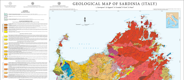 The geological map of Sardinia (Italy) at 1:250,000 scale