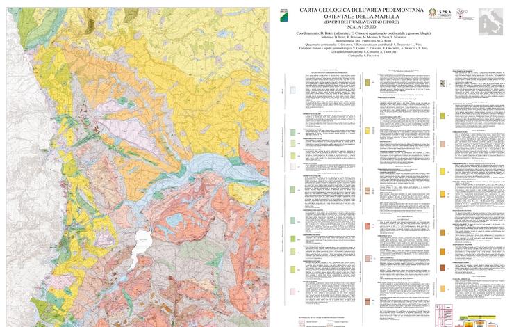 Carta geologica dell'area pedemontana orientale della Majella in scala 1:25.000