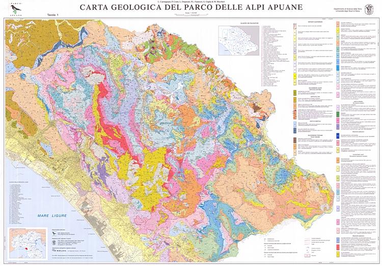 Carta Geologica del Parco delle Alpi Apuane, scala: 1:50.000
