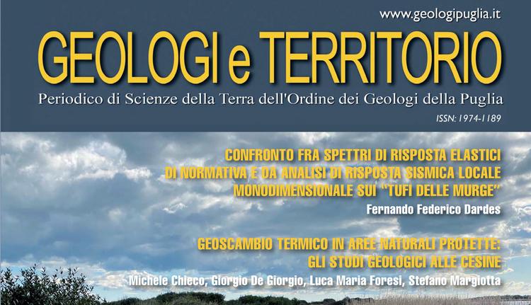 Geologi e Territorio, online il periodico dell'Ordine dei geologi della Puglia