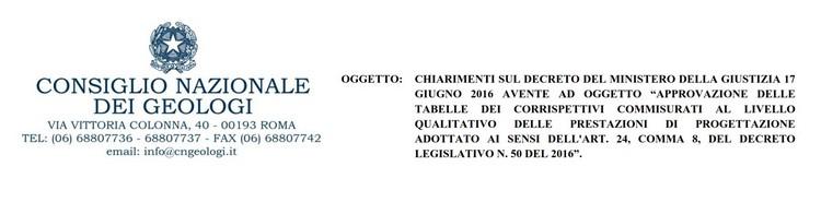 Consiglio Nazionale dei Geologi, Circolare n.435 - chiarimenti corrispettivi D.M. 17 giugno 2016