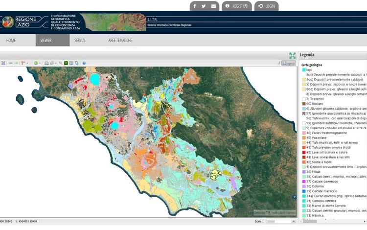 Geoportale Regione Lazio: la Carta Geologica regionale informatizzata (scala 1:25.000)