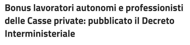 Bonus lavoratori autonomi e professionisti delle Casse private