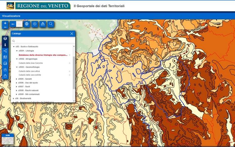 Regione Veneto, cartografia geologica on-line
