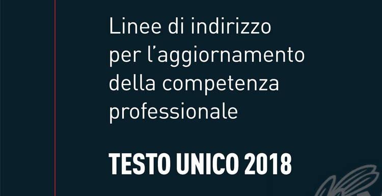 """CNI, Linee di Indirizzo del """"Regolamento per l'aggiornamento della competenza professionale"""" - Testo Unico 2018"""