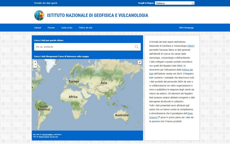 INGV, realizzato il Portale dei Dati Aperti
