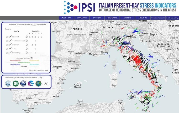Online banca dati IPSI, orientazioni del campo di sforzo attivo in Italia