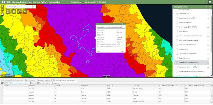 ISTAT - Mappa dei rischi dei comuni italiani: cartografia