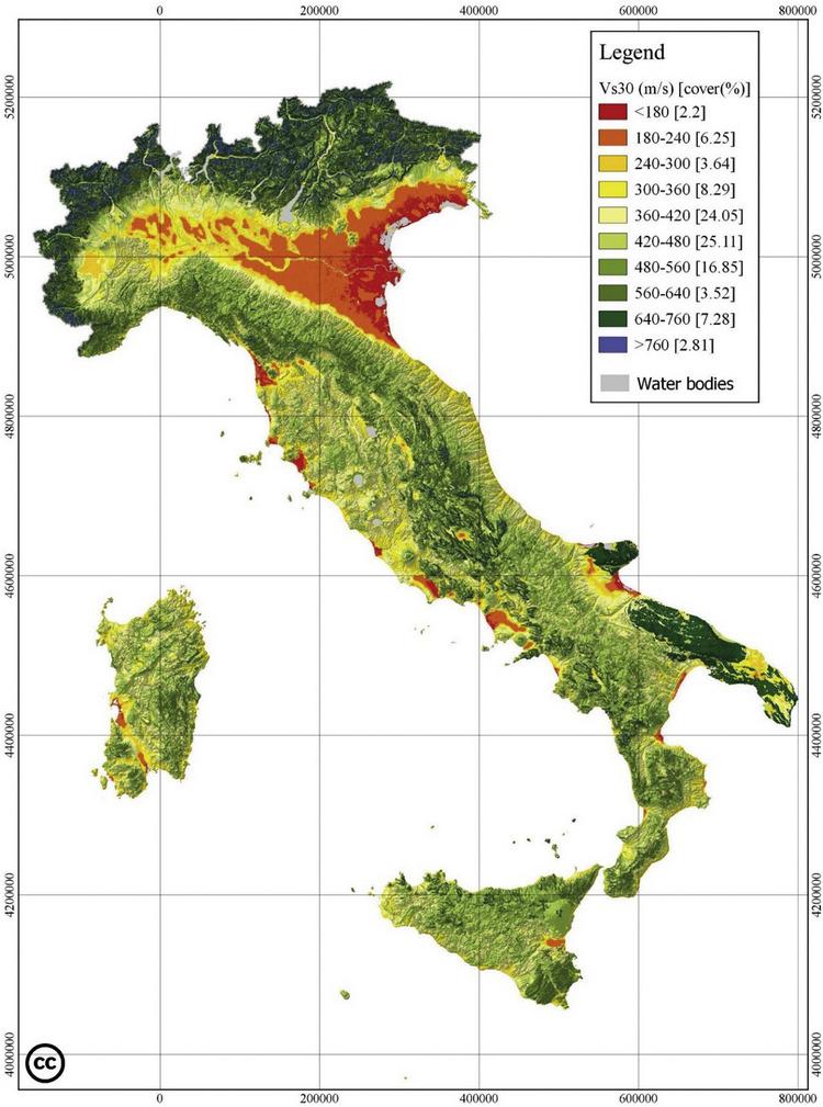 Nuova mappa della Vs30 per l'Italia basata sui dati della  microzonazione sismica