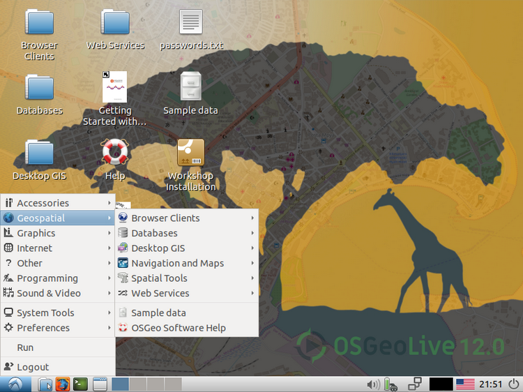 OSGeoLive Version 12.0; software geospaziali open source