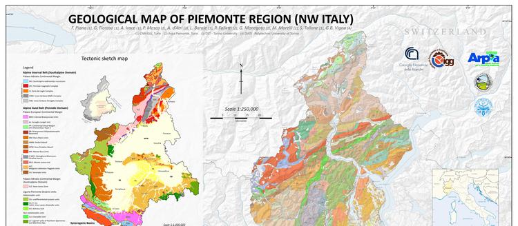 """Carta Geologica del Piemonte scala 1:250.000 e Servizio WebGIS """"GeoPiemonte Map"""""""