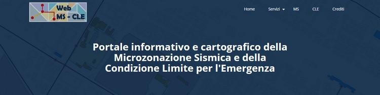 Attiva la piattaforma WEB MS - CLE; portale informativo e cartografico della Microzonazione Sismica