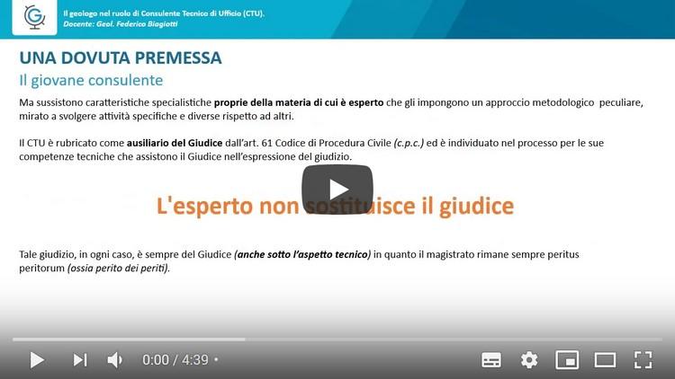 Il Geologo nel ruolo di Consulente Tecnico d'Ufficio - CTU (Lezione 1)