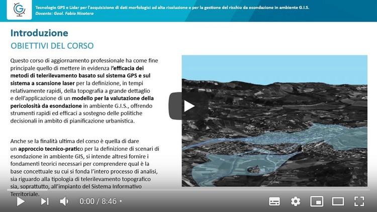 Tecnologie GPS e Lidar per l'acquisizione di dati morfologici ad alta risoluzione e per la gestione del rischio da esondazione in ambiente G.I.S. (Lezione 1)