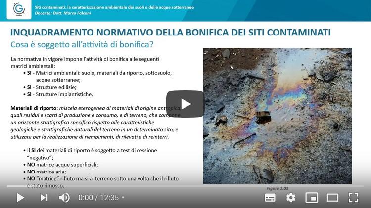 Siti contaminati: la caratterizzazione ambientale dei suoli e delle acque sotterranee (Lezione 1)